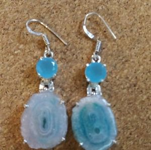 Beautiful Blue Solar Quartz SS Earrings